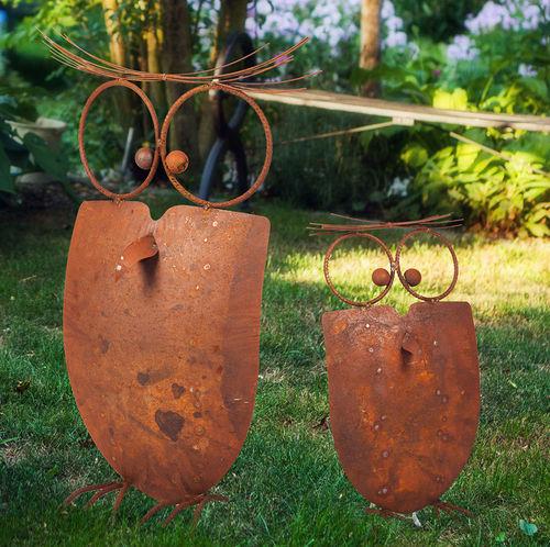 Gartenfigur Verrückte Eule 64 Cm Edelrost