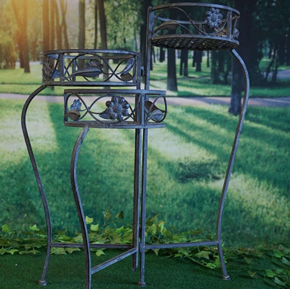 Pflanzenständer 3-teilig im Antik-Design -Gartenausstattung,Deko