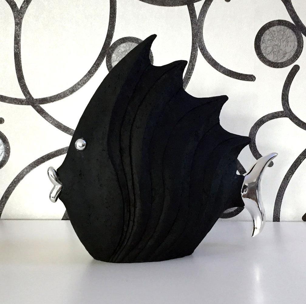 jetzt besonders günstig! deko fisch steinoptik schwarz/silber
