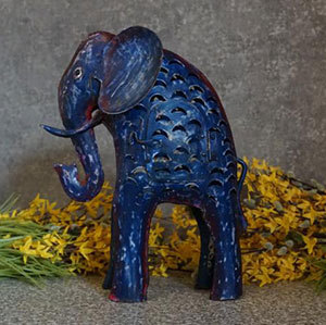 Deko Elefant Laterne Metall blau